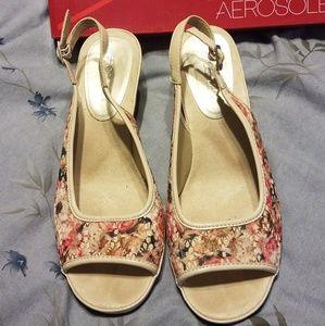 Multi-colored floral sandals